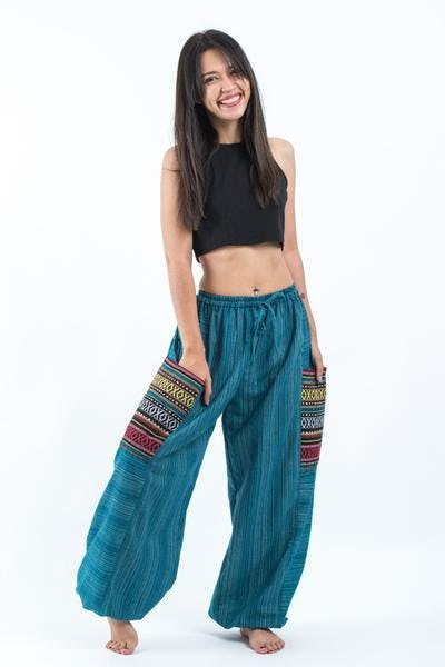 Drawstring Pinstripes Cotton Pants with Aztec Pocket in Turquoise