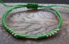 Fair Trade Thai Hill Tribe Silver  Beaded Waxed Cotton Bracelet Lime