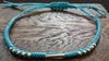Braided Waxed String Bracelet with Silver Tube Charm in Turquoise