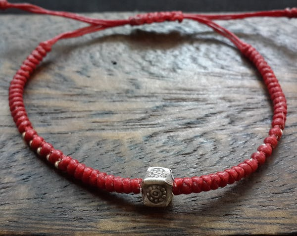 Fair Trade Thai Hill Tribe Silver Charm Waxed Cotton Bracelet Red Box Flower