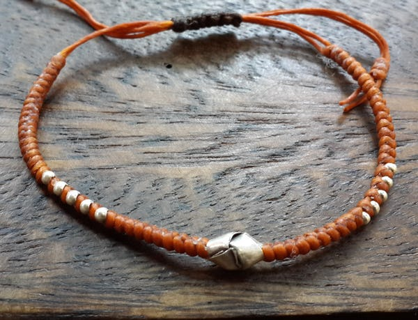 Fair Trade Thai Hill Tribe Silver Charm Waxed Cotton Bracelet Rust Knot