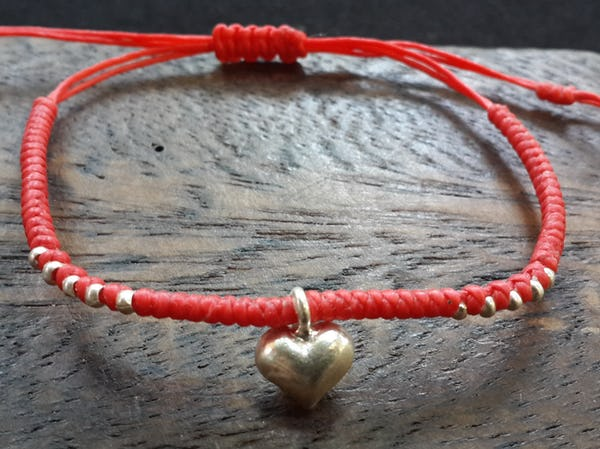 Fair Trade Thai Hill Tribe Silver Charm Waxed Cotton Bracelet Red Heart