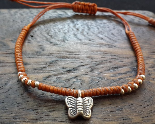 Fair Trade Thai Hill Tribe Silver Charm Waxed Cotton Bracelet Rust Butterfly