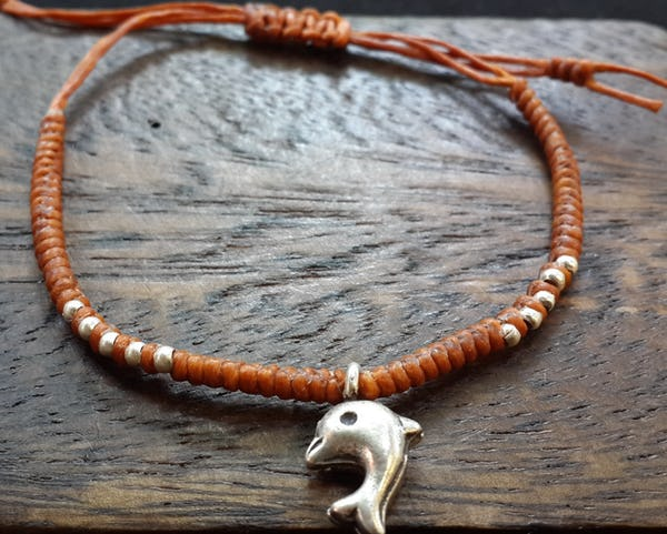 Fair Trade Thai Hill Tribe Silver Charm Waxed Cotton Bracelet Rust Dolphin