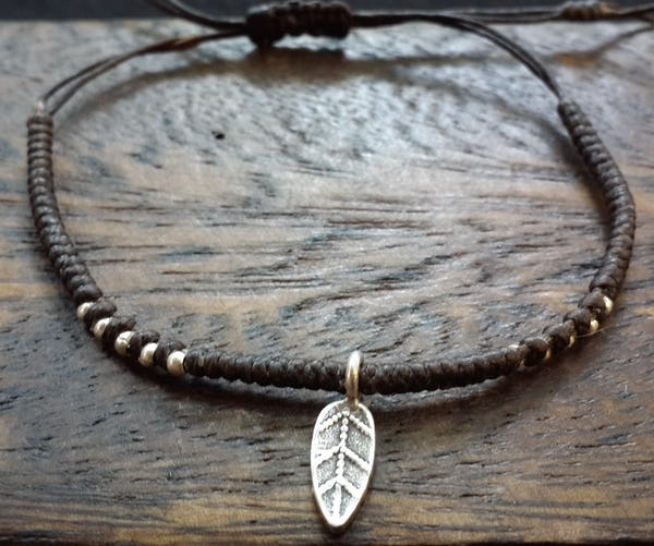 Fair Trade Thai Hill Tribe Silver Charm Waxed Cotton Bracelet Brown Leaf