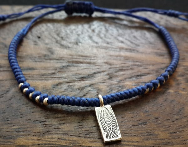 Fair Trade Thai Hill Tribe Silver Charm Waxed Cotton Bracelet Blue Fish