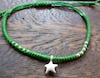 Fair Trade Thai Hill Tribe Silver Charm Waxed Cotton Bracelet Lime Star
