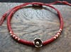 Fair Trade Thai Hill Tribe Silver Charm Waxed Cotton Bracelet Red Blossom