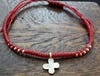 Fair Trade Thai Hill Tribe Silver Charm Waxed Cotton Bracelet Red Clover