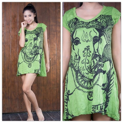 Sure Design Womens Big Face Ganesh Dress Lime