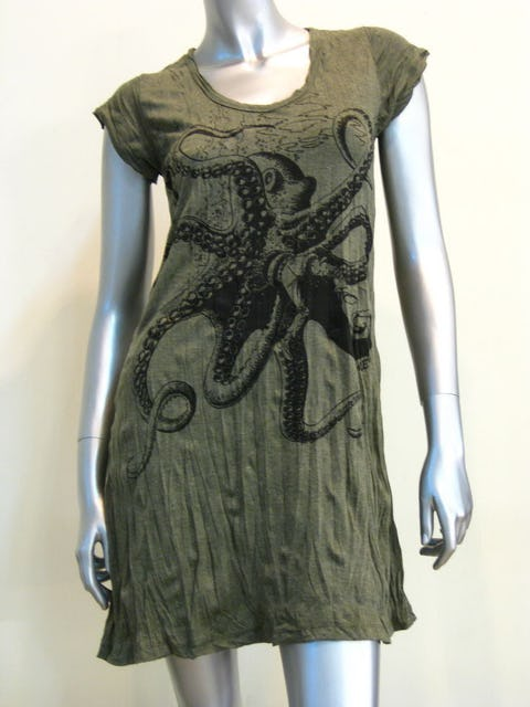 Womens Octopus Dress Green