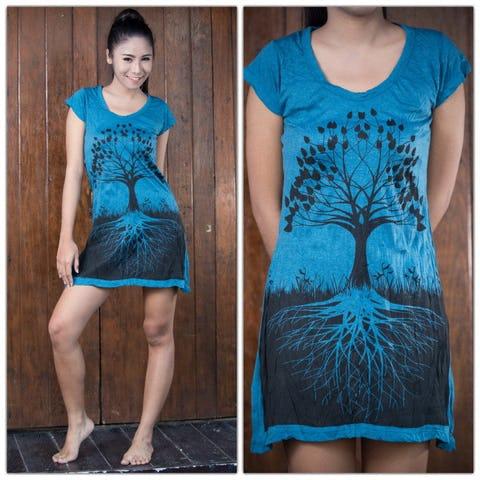 Sure Design Womens Tree of Life Dress Denim Blue