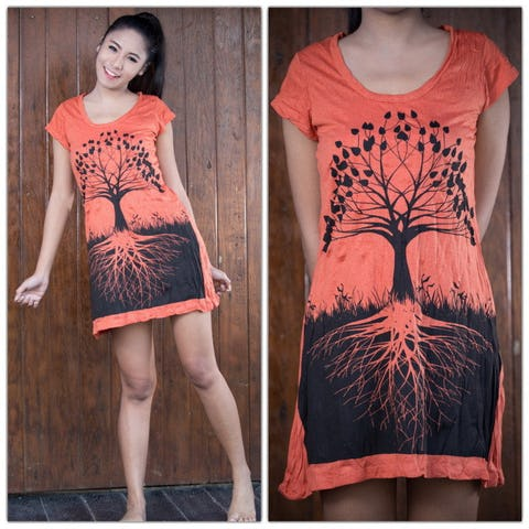 Womens Tree of Life Dress in Orange