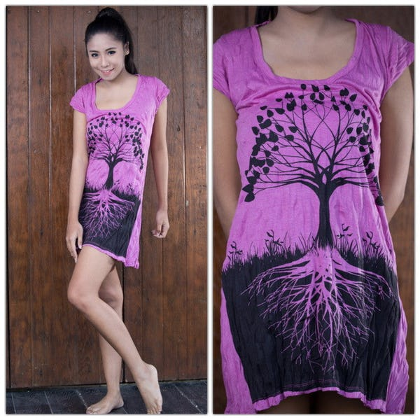 Sure Design Womens Tree of Life Dress Pink