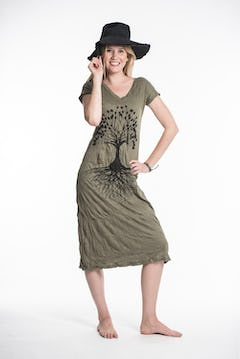 Sure Design Womens Butterfly Buddha Dress Brown