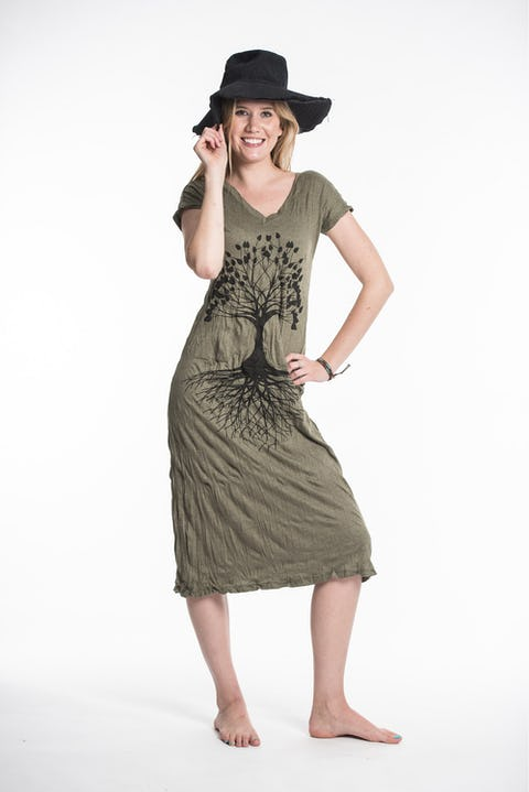 Sure Design Womens Tree Of Life V Neck Tee Dress Green