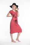 Womens Tree of Life V Neck Long Dress in Red