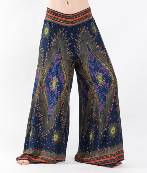 Peacock Eyes Palazzo Style Harem Pants in Navy