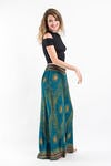 Womens Peacock Eyes Palazzo Pants in Turquoise