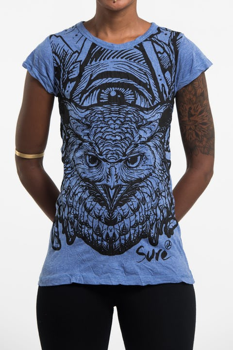 Womens All Seeing Owl T-Shirt in Blue