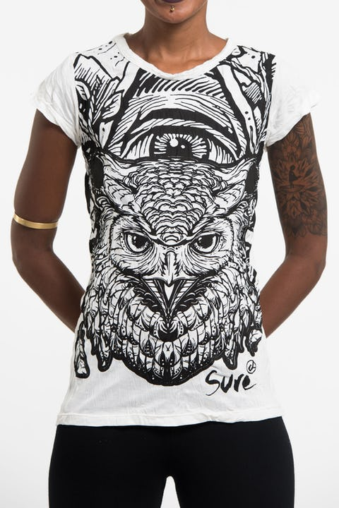 Womens All Seeing Owl T-Shirt in White