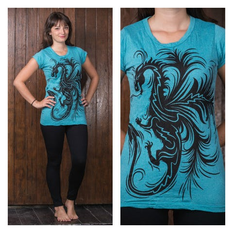 Sure Design Womens The The Dragon T-Shirt Turquoise