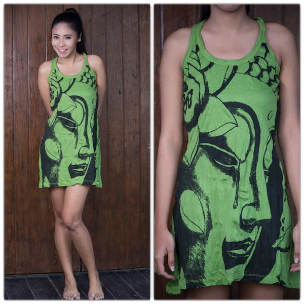 Sure Design Womens Crying Buddha Tank Dress Lime