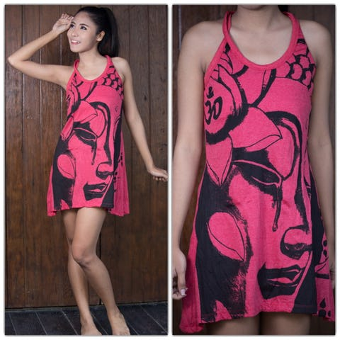 Sure Design Womens Crying Buddha Tank Dress Red