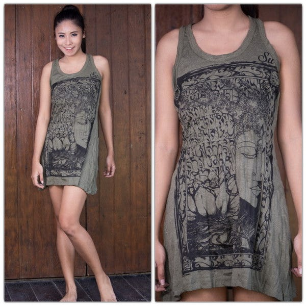 Sure Design Womens Sanskrit Buddha Tank Dress Green