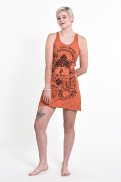 Sure Design Womens Tree of Life Tank Dress Brown