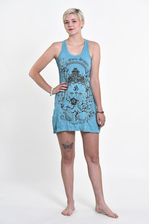 Sure Design Womens Octopus Oracle Tank Dress Turquoise