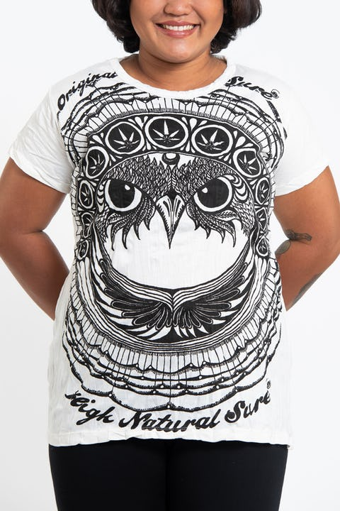 Plus Size Womens Weed Owl T-Shirt in White