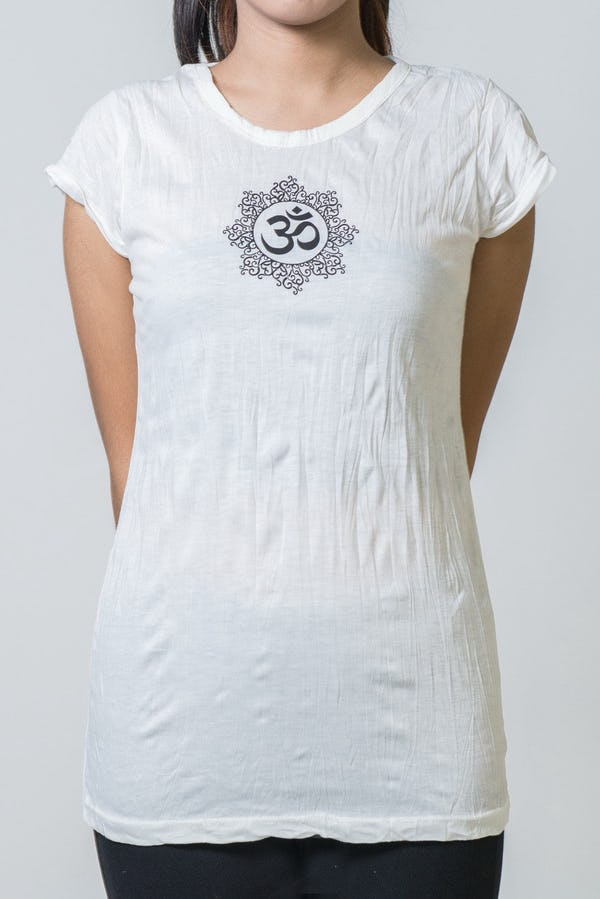 Super Soft Sure Design Women's T-Shirts Om Mandala White