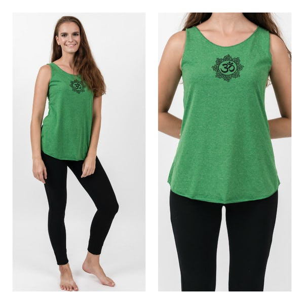 Super Soft Sure Design Women's Tank Tops Om Mandala Green