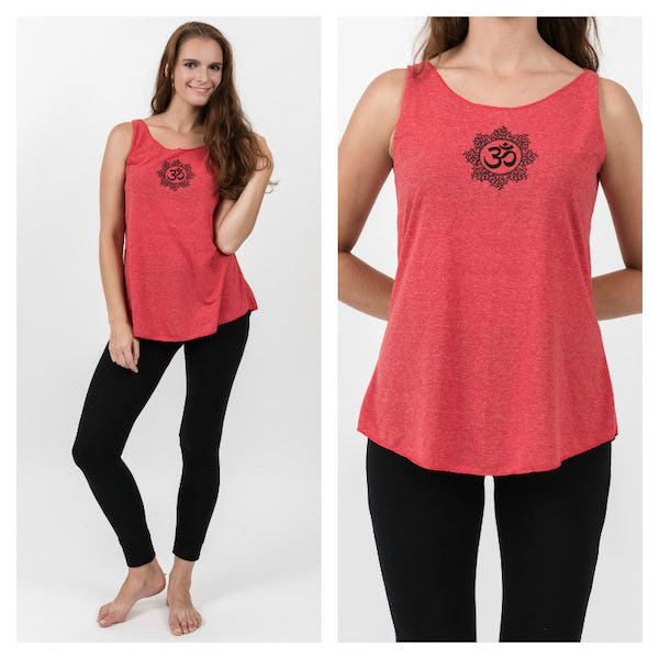 Super Soft Sure Design Women's Tank Tops Om Mandala Red