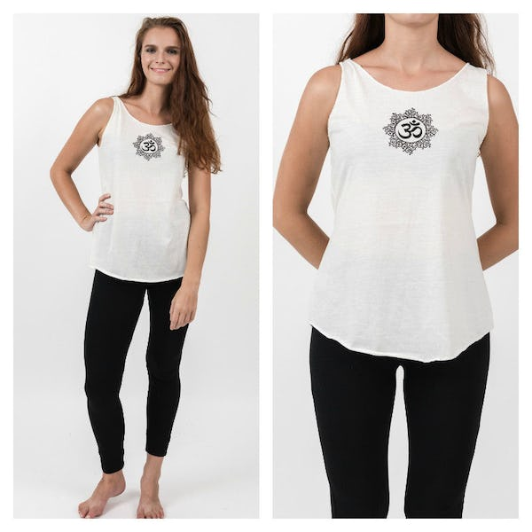 Super Soft Sure Design Women's Tank Tops Om Mandala White