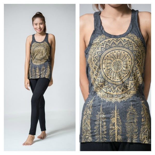 Sure Design Womens Dreamcatcher Tank Top Gold on Black ...