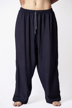 Unisex Circles Harem Pants with Faux Buttons in Navy