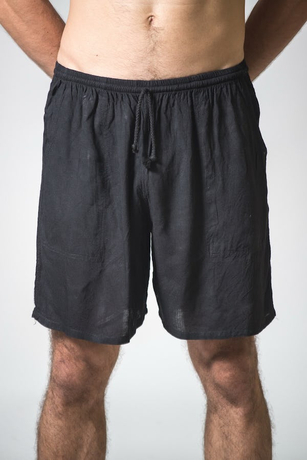 Solid Color Cotton Drawstring  Yoga Shorts in Black
