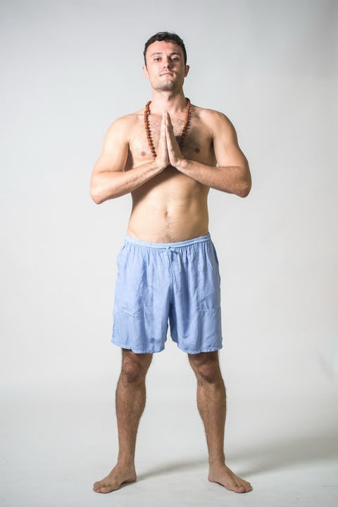Solid Color Cotton Drawstring  Yoga Shorts in Blue