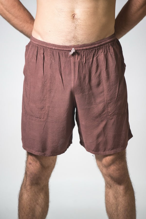 Solid Color Cotton Drawstring  Yoga Shorts in Brown