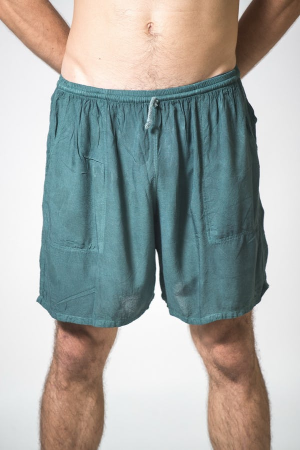 Solid Color Cotton Drawstring  Yoga Shorts in Dark Teal