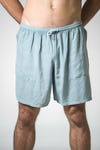 Solid Color Cotton Drawstring  Yoga Shorts in Grey