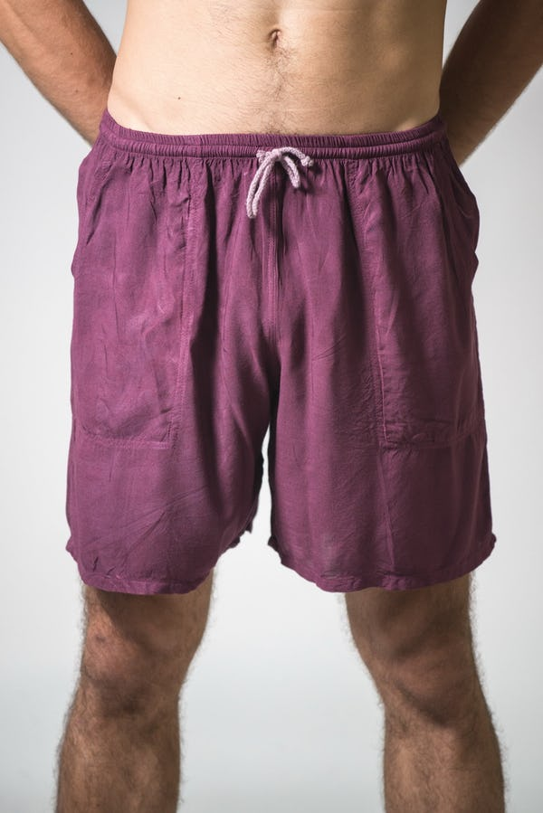 Solid Color Cotton Drawstring  Yoga Shorts in Maroon