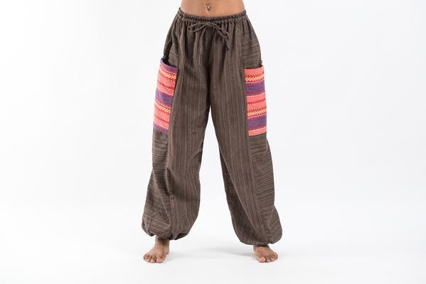 Unisex Pinstripe Cotton Pants with Aztec Pocket in Brown