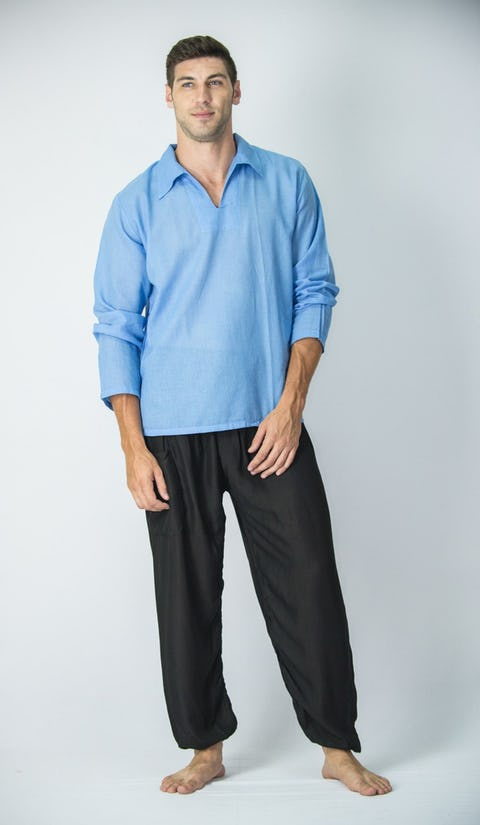 Mens Yoga Shirts Collar V Neck In Blue