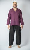 Mens V Neck Collar Yoga Shirt in Dark Purple