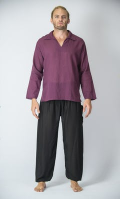 Womens Yoga Shirts Nehru Collared In Dark Purple