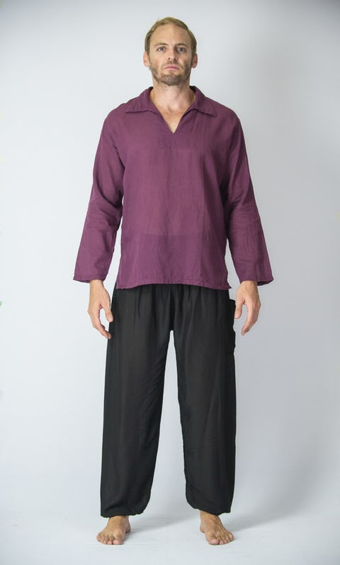 Mens Yoga Shirts Collar V Neck In Dark Purple