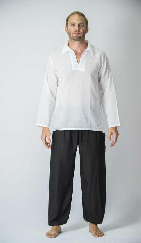 Mens Yoga Shirts Collar V Neck In White